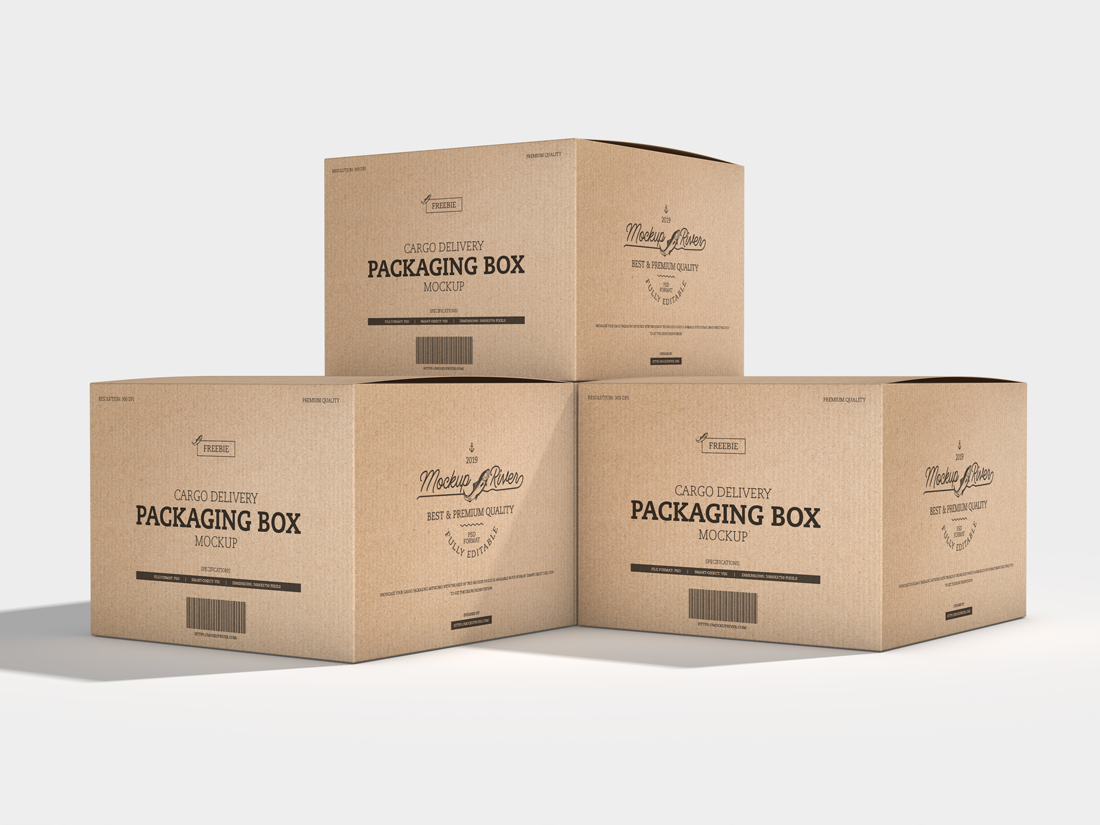 Cargo Delivery Packaging Box Mockup - Mockup River