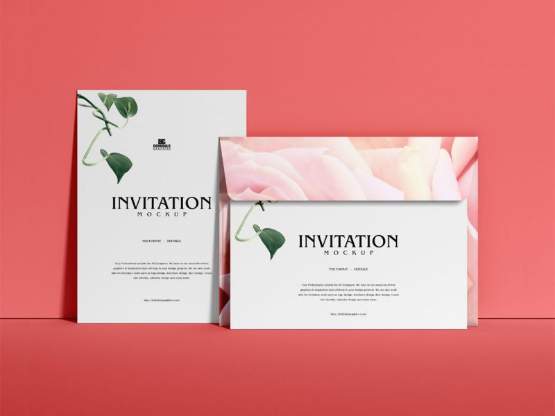 Free-Greetings-Invitation-With-Envelope-Mockup