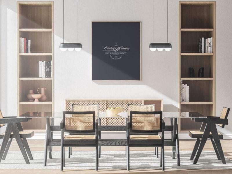 Free-Dinning-Room-Interior-Framed-Poster-Mockup-Design-Template